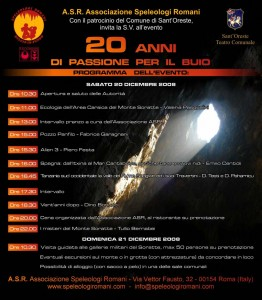 Associazione Speleologi Romani invito ventennale