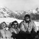 Inverno 1975 abisso Gortani, da sx Bole, Padovan e Mario Gherbaz