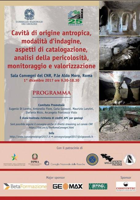 """Convegno Cavità di origine antropica, modalità d'indagine, aspetti di catalogazione, analisi della pericolosità, monitoraggio e valorizzazione"""""""