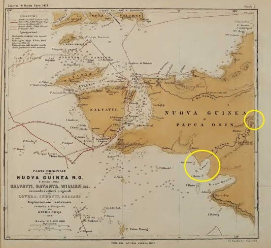 Beccari1875: carta della parte occidentale della penisola realizzata da Guido Cora nel 1875 sulle base delle esplorazioni di Beccari e altri si nota la foce del Kladuk-Kabrara e le retrostanti zone carsiche