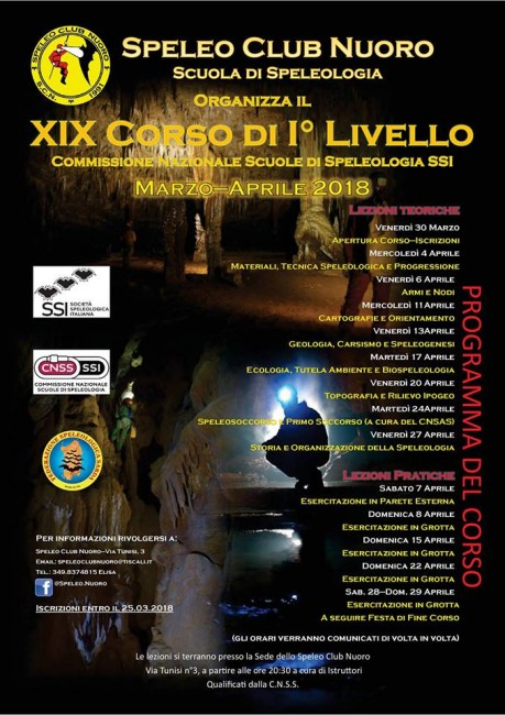 Locandina 19° Corso Speleo Club Nuoro