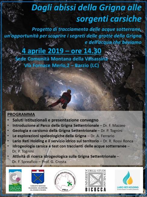 """Programma del Convegno di apertura del Progetto di tracciamento delle acque sotterranee lla Grigna alle sorgenti carsiche"""""""