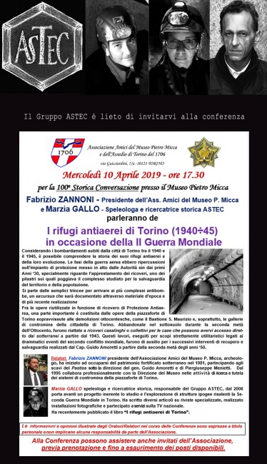 Conferenza i rifugi antiaerei di Torino