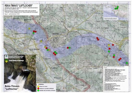 mappa percorso ipotizzato Reka Timavo