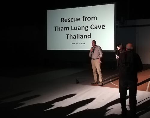 Lo speleosub Rick Stanton al reduno di speleologia di Urzulei 2019