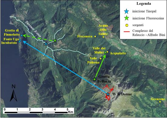 Tracciamento acque sotterranee Grigna