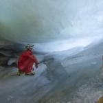 la riduzione del deposito di ghiaccio nella grotta 1938FR, cardine del progetto C3, apre nuovi ambienti inesplorati nel ghiaccio (Foto Renato R. Colucci)